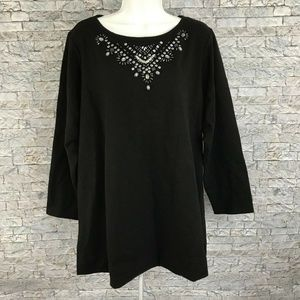 Susan Graver French Terry  Black Embellished Tunic
